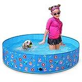 Toozey Piscina para perros grandes y pequeños, 80 cm/120 cm/160 cm, plegable, piscina para niños y perros, 100% segura y respetuosa con el medio ambiente, color azul