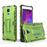 Phone Case for Galaxy Note 4 with Metal Kickstand Stand Heavy Duty Hybrid Hard Rugged Shockproof Dual Layer Protective Cover Cases Compatible Samsung Note4 N910A Men Women Girls Black+Green