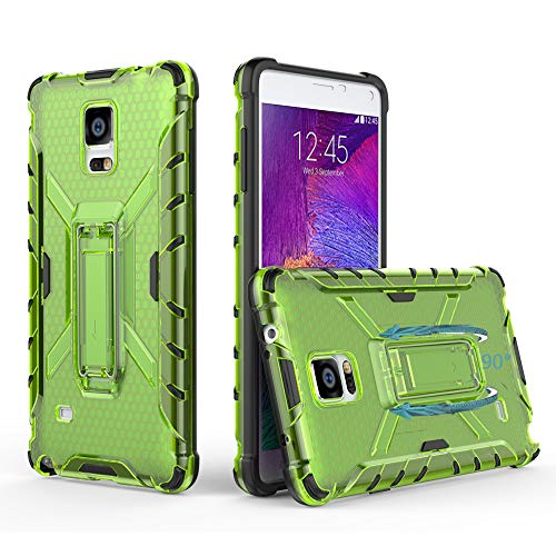 Phone Case for Samsung Galaxy Note 4 with Metal Kickstand Stand Heavy Duty Hybrid Hard Rugged Shockproof Dual Layer Protective Cover Cases Compatible Glaxay Note4 N910A Men Women Girls Black+Green