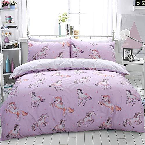 Sleep Down - Juego de Funda nórdica y Funda de Almohada (algodón), diseño de Unicornio, Color Rosa