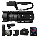 Video Camera 4K HD Auto Focus Camcorder 48MP 60FPS 30X Digital Zoom Camera for YouTube LED Function 4500mAh Battery with Handheld Stabilizer, Remote Control,Microphone and 64G SD Card