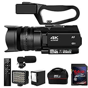 Video Camera 4K HD Auto Focus Camcorder 48MP 60FPS 30X Digital Zoom Camera for YouTube LED Function 4500mAh Battery with Handheld Stabilizer Remote Control,Microphone and 64G SD Card