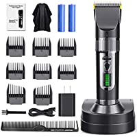 Purkoo Professional Cordless Hair Clipper Set with 8 Guide Combs, 2 Lithium Battery