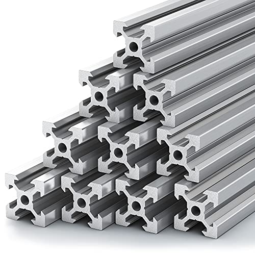 BC Labs T Slot Aluminum Extrusion - [ 10 Pack ] 2020 Aluminum Extrusion [ V Type ] DIY | Extruded Aluminum T Slot | 2020 Extrusion | T Slot Rail | Aluminum T Track | Slotted Aluminum Extrusion 2020 |