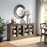 BELLEZE Liam 70' Rustic Farmhouse Wood Sideboard Universal Stand 4 Doors Buffet Cabinet Living Room Glass Storage, Rustic Oak