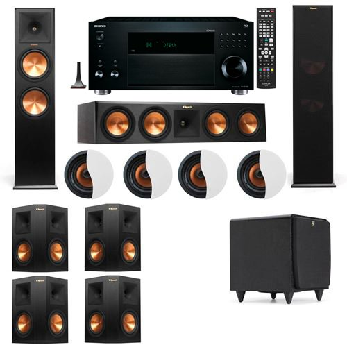 Sale!! Dolby Atmos 7.1.4 Klipsch RP-280F Tower Speakers SDS12 with Onkyo TX-RZ1100