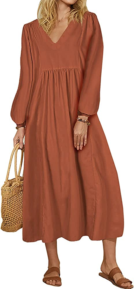 Women Long Sleeve Cotton and Linen Dress V Neck Lantern Sleeve Loose Casual Midi Dresses with Pockets