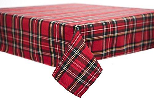 Tischdecke,Mitteldecke,Tischläufer,Serviette,Schottenkaro,Weihnachten 80 x 80 cm rot