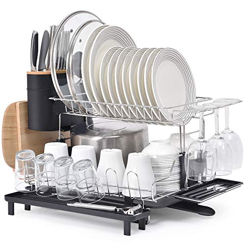 KINGRACK 2 Tier Dish Rack 304 Stainless Steel Dish Drainer Large Capacity Dish Drying Rack with Drip Tray Removable Cutlery Cutting Board Wine Glasses Cups Holder Plate Rack for Kitchen