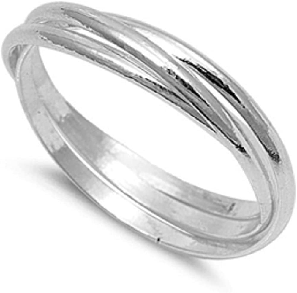 CloseoutWarehouse 925 2021 Sterling Silver Triple Band New popularity Puzzle Classic