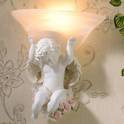 HYYK Lámpara de Pared de ángel Europeo Aplique de Pared Dormitorio Simple Cabecera LED Sala de Estar TV Lámpara de Pared Pasillo posmoderno Pasillo Escaleras Niño Bebé Linterna de Pared