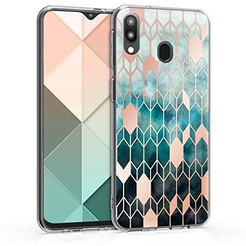 kwmobile Hülle kompatibel mit Samsung Galaxy M20 (2019) - Handyhülle Silikon Hülle - Glory Blau Rosegold