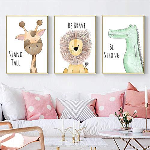 Ivpss animales de dibujos animados lindo cuadro decorativo sea valiente sea fuerte habitación de los niños jardín de infantes sin marco lienzo pintura arte de la pared niños