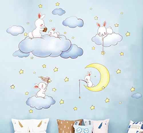 WandSticker4U®- XL Wandtattoo Babyzimmer SCHÖNE TRÄUME I Wandbilder: 100x100 cm I Wand Deko Baby Hase Sweet Dreams blau Wolken Mond Sterne Kinder I Wandsticker für Kinderzimmer Mädchen Junge