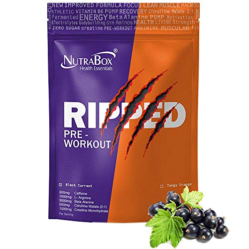 NUTRABOX RIPPED Pre Workout Gym Supplement to Boost Your Energy & Performance/Body Building Powder for Men & Women 300 Gm, Black Currant Flavor.30 servings(60 scoops).
