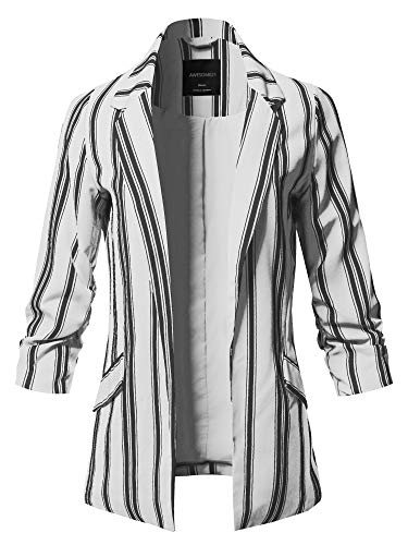 Pinstripe 3/4 Sleeves Notched Collar Blazer Jacket White Size S