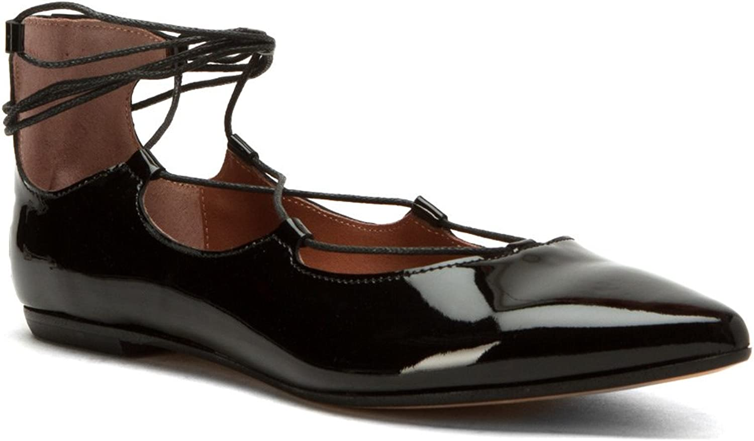 Summit by White Mountain Women's Karena Black Patent Leather Flat 37 M