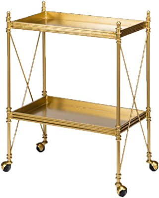 DIOE Double Metal Mobile Trolley, Wine Cart, Restaurant Service Cart, Assembly Required, Gold Movable Dining Cart
