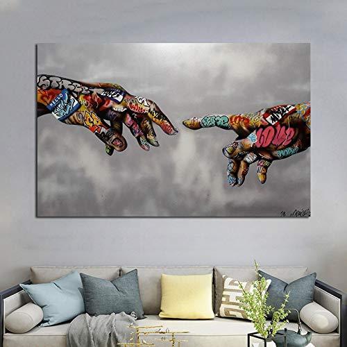 N / A Graffiti Hand in Hand Poster und Drucke Bunte Hand Ungerahmte Leinwand Malerei Pop Art Wanddekoration Cuadros Für Wohnzimmer 50x75 cm Kein Rahmen