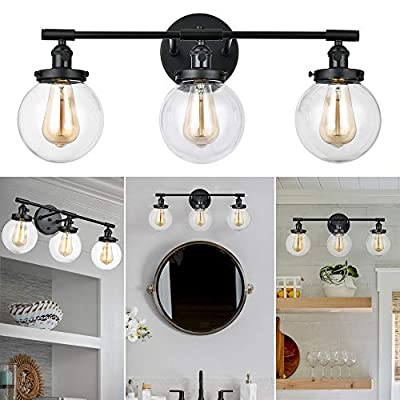"""3-Light Glass Wall Sconce, 25"""" Industrial Wall Light Fixture, Farmhouse Vintage Wall Mount Lamp for Bathroom Vanity Mirror Bedroom Cabinets Dressing Table Hallway (Black)"""