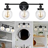 3-Light Glass Wall Sconce, 25' Industrial Wall Light Fixture, Farmhouse Vintage Wall Mount Lamp for Bathroom Vanity Mirror Bedroom Cabinets Dressing Table Hallway (Black)