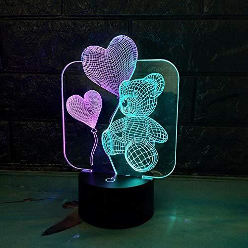 Optische Illusie 3D Leuke Beer Spelen met Ballonnen Nachtlampje 7 Kleuren Veranderende USB Power Touch Schakelaar Decor Lamp LED Tafel Bureau Lamp voor Kinderen, Kerstversiering, Verjaardagscadeau, Slapende Lamp