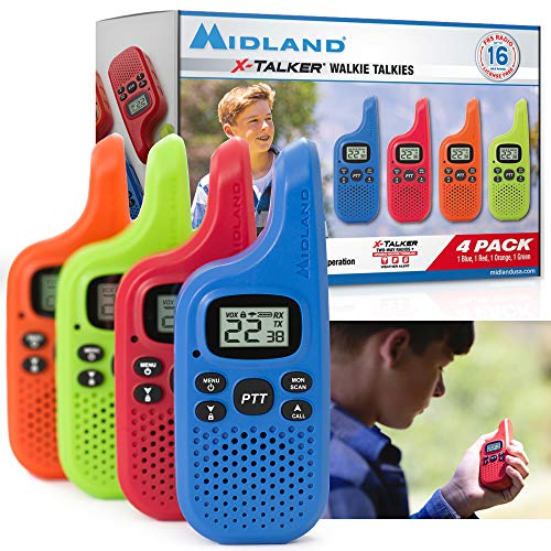 weather radio for kids Midland X-TALKER 22 Channel FRS Walkie Talkie for Kids - Two-Way Radio, 38 Privacy Codes, NOAA Weather Alert (Multi-Color, 4 Radios)