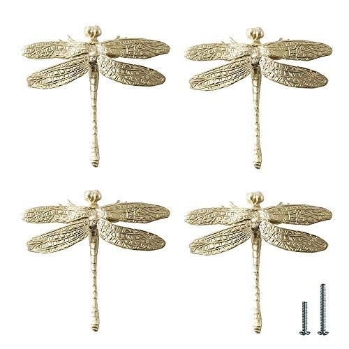 UniDes 4 Pcs Brass Drawer Pull Knob Gold Cabinet Dreeser Handle - Dragonfly Designed for Modern Home
