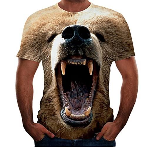 T-Shirt Herren Sommer Slim Fit Rundhals Kreative Herren Freizeitshirt Neuheit 3D Hündchen Tier Druck Kurzarm Sportshirt Moderner Trend Herren Shirt T02 6XL