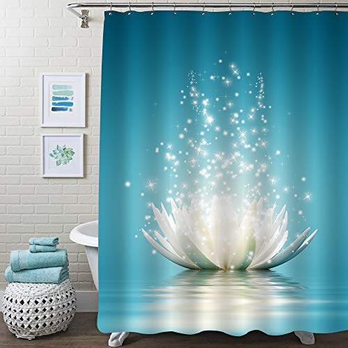 MitoVilla Asian Lotus Flower Shower Curtain Set for Bathroom Decor, Magic Waterlily Floral Art Print Bathroom Accessories for Spa Zen Themed Home, Gifts for Women and Girls, Turquoise, 72' W x 72' L