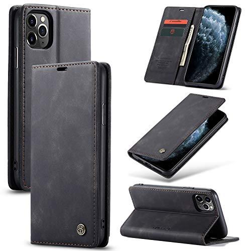 AKC Funda Compatible para iPhone 11 Pro MAX Carcasa con Flip Case Cover Cuero Magnético Plegable Carter Soporte Prueba de Golpes Caso-Negro