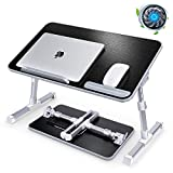 """Laptop Desk for Bed with Cooling Fan, Boxeroo 20.5""""x11.8"""" Adjustable Computer Laptop Bed"""