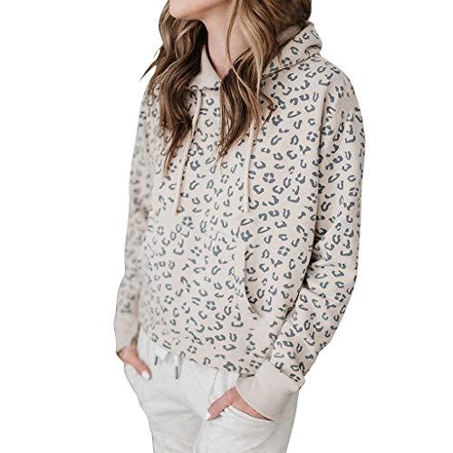 OIKAY Damen Pullover Sport Tops Shirt mit Tasche für Frauen Leopard Langarm Hoodie Sweatshirt mit Kapuze Oberteile Bluse