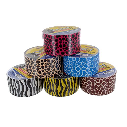 """BAZIC Duct Tape, Assorted Colors, Pack of 6 (1.88"""" x 10 Yards, Fluorescent Colors) (1.88"""" x 5 Yards, Safari Set)"""