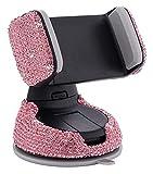 LSZ Tenedor de teléfono móvil Cristal Soporte de succión de Cristal Rhinestone Glitter Ventilador de Aire Universal 360 ° Soporte de navegación Multifuncional Ajustable Rosa Soportes para Coches