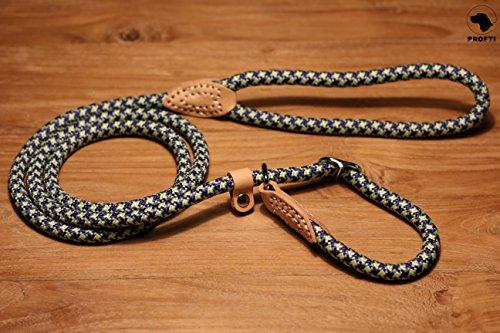 PROFTI Retrieverleine aus Nylon, Lederelemente, Zugstopp, große/kleine Hunde, 150cm, Blau/Grün