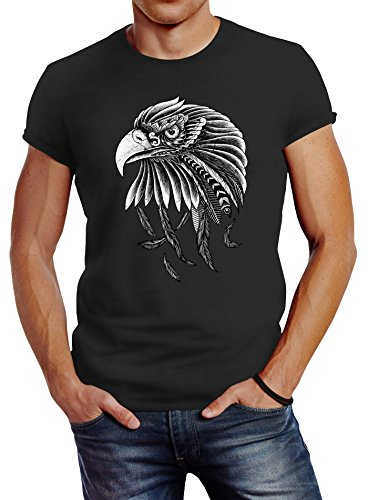 Neverless Herren T-Shirt Adler Aufdruck Slim Fit anthrazit XL