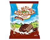 Korovka Chocolate Wafer Cookies with Chocolate Glaze in Individual Wraps 8.8oz/250g Gourmet Imported Russian Candy Sweets Bars, Tender Cocoa Cream Filling