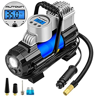AUTOWN Portable Air Compressor Pump 150 PSI, 12V Digital Car Tire Inflator Gauge with 4 Display Units, Auto Shut-Off for Overheat Protection