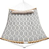 SONGMICS Hammock, Quilted Hammock with Curved Bamboo Spreaders,...
