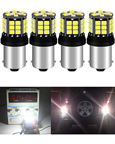 4-Pack 1156 BA15S 7506 1141 1003 Blanco sin polaridad 2835 39-SMD 9-30V Luces LED para luces de Marcha atrás Luces de Reversa Bombilla