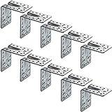 Gedotec Winkelverbinder Metall-Winkel Holz-Verbinder mit Rippe | 90 x 90 x 65 mm | Schwerlast-Winkel Eisen massiv | Stahl verzinkt | CE und ETA Zulassung | 10 Stück - Stahlwinkel Schwerlast mit Steg