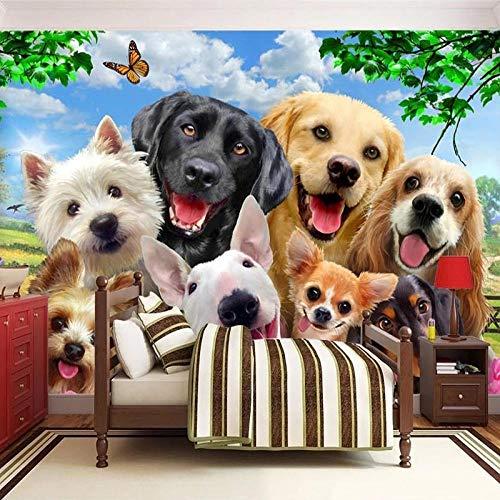 Fotobehang Fotobehang Leuke Cartoon Gazon Hond Dier Foto Kinderen Kinderen Slaapkamer Achtergrond Muur Home Decor Papier Peint Enfant-150x105 cm (59,1 bij 41,3 inch)