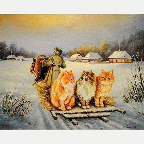 Punto Croce Kit per Adulti Principianti Bambini-Cotone Floss ricamare Ricamo-Fai da Te Cross Stitch Embroidery Arte Natale-11CT Tela prestampata-Tre bei Gatti nella Neve