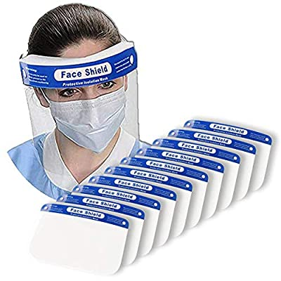 Protective Face Shields,10 Pack Reusable Safety Face Shields with 10 Clear Films, 10 Adjustable Band and Sponge against Splash