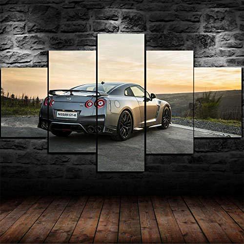 Stampe E Quadri su Tela 5 Pezzi Nissann GTR GT-R 2018 Auto Immagini Stampe HD Poster Arredo Salotto...