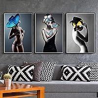 ファッションバタフライガールキャンバスアートポスターとプリントスカンジナビア絵画リビングルームの壁の写真モダンな家の装飾50X70cm-3pcsフレームレス