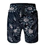 Pantalones Cortos De Playa para Hombres,Fondo de Papel Tapiz de Flores de composición Decorativa,Pantalones De Chándal De Secado Rápido, Bañador De Verano para Ejercicios Al Aire Libre XXL