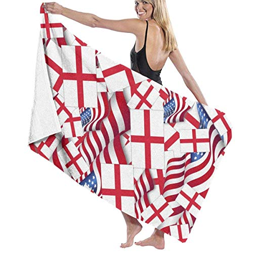 WKLNM Bandera de Inglaterra con Bandera de América Toalla de baño Toalla de Playa Grande Manta Microfibra Secado rápido Toalla Extra Absorbente sin Arena 32 'X 52'