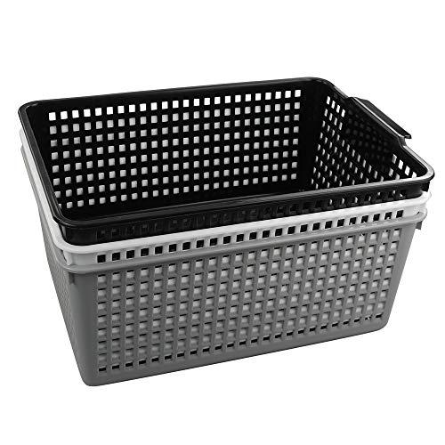 CadineUS - Juego de 3 cestas de plástico para organizar cestas grandes